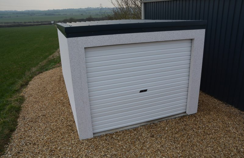 Domestic steel prefabricated single car garage vehicle shelter with flat roof