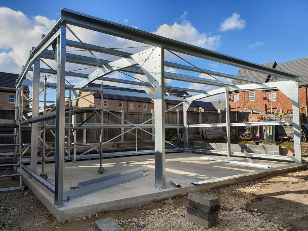 Domestic Steel Garage Building Featherstone near wakefield west yorkshire