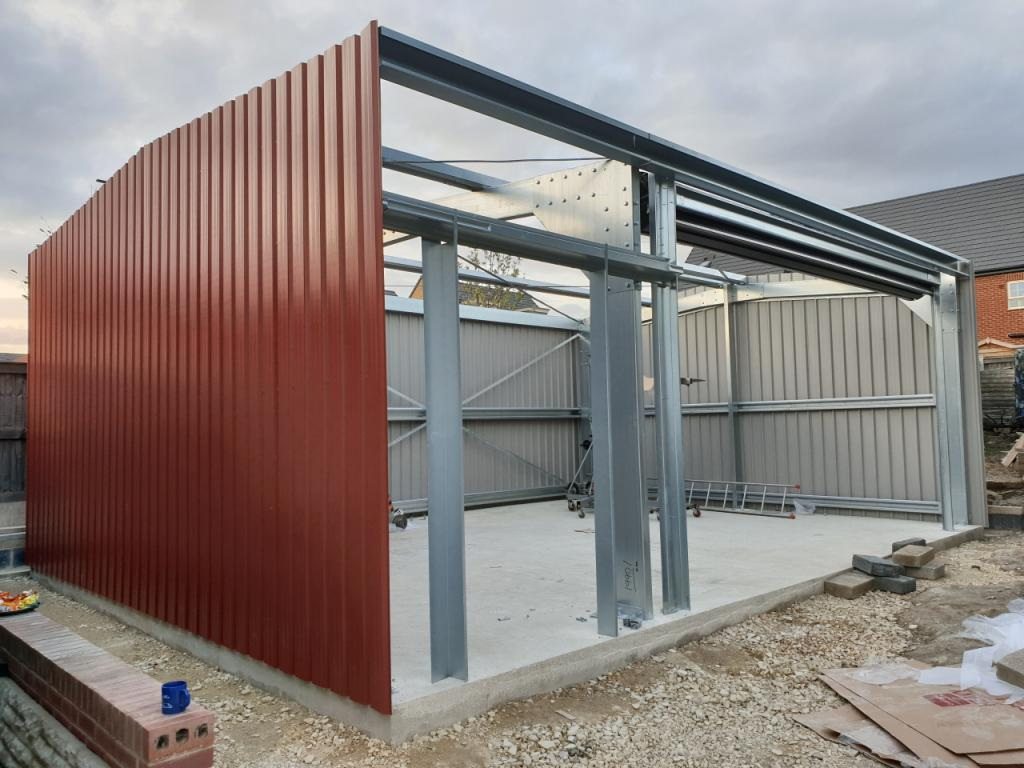 Domestic Steel Building frame part built Featherstone near Pontefract