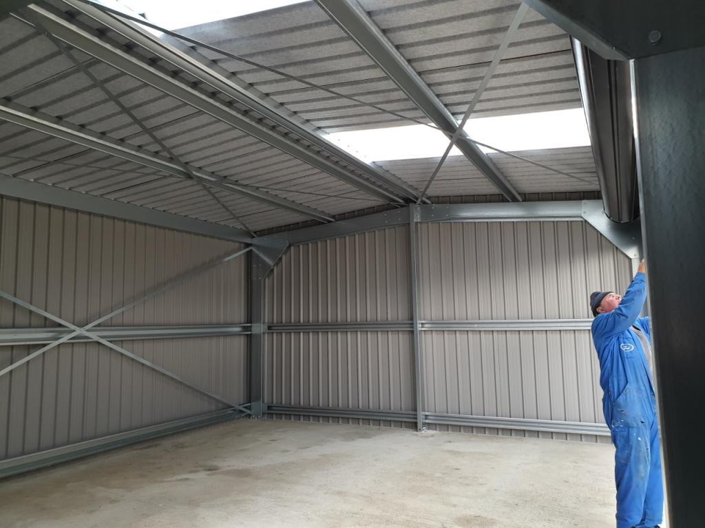 inside Domestic Steel Classic Car Garage Storage workshop Featherstone west yorkshire