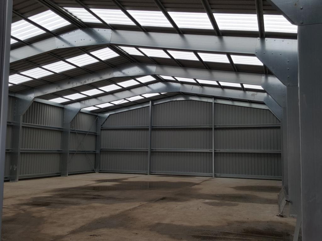 skylights in commercial steel building near wakefield